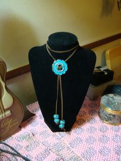 Turquoise Concha Bolo Tie. Great Deal! Concha has double coat of paint and sealed to prevent Tarnish.