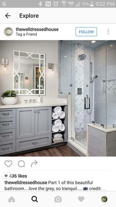 Such a pretty bathroom! Love the open shelves for towels