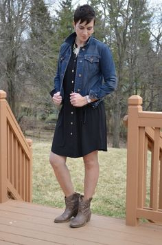 How to Style a Denim Jacket 11 Different Ways - a shirt dress wit ankle cowboy boots plus a denim jacket is a fabulous outfit for pretty much anything!