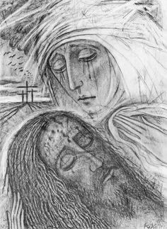 Kiko Argüello, Neokatekumenski put Christian Paintings, Christian Posters, Christian Art, Religious Images, Religious Icons, Religious Art, La Pieta, Biblical Art, Mary And Jesus