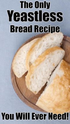 Want to make delicious bread, but don't have any yeast? No problem. Here is a simple yeastless bread recipe you'll wished you tried sooner. This no yeast bread is delicious, airy and super fluffy, and Yeast Free Breads, No Yeast Bread, Yeast Bread Recipes, Bread Baking, Cornbread Recipes, No Yeast Sourdough Bread Recipe, Jiffy Cornbread, Beginners Bread Recipe, Baking For Beginners