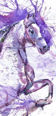 Horse Watercolour Painting Running horse Violet Purple Art, Equine Decor, Equine…