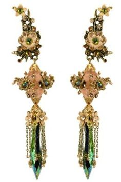 Michal Negrin Clip-on Vintage Earrings Made with Dangling Glass Ornament, Hand-Painted Flowers and Green, Beige Swarovski Crystals; Vintage Inspired: Michal Negrin: Jewelry