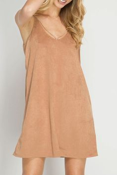 27626f97277b Flaunt your tan in this stunning camel vegan suede dress with strappy front  and back detail. Shoptiques