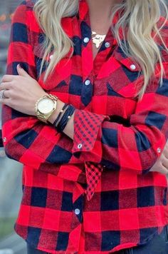 Roll up your sleeves to show off a fun bracelet stack to elevate a casual buffalo check shirt.
