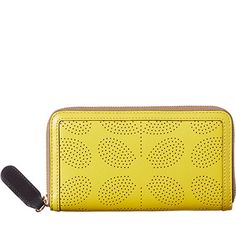 Orla Kiely   UK   accessories   Wallets & Pouches   Sixties Stem Punched Leather Big Zip Wallet (16SBSSP122)   yellow