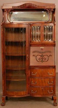 Art Nouveau Desk & Glass Secretary Cabinet Circa 1900