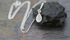 sterling silver tiny teardrop necklace by greygoosegifts on Etsy