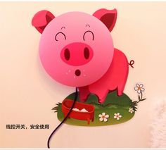 Bedroom Cute Pink Cartoon Kids Bedroom Storage Ideas Pig Wall Lamp For Kids Study Room Decoration 720x651 Kinds Of Modern Wall Lamps For Bedroom Furniture Kids
