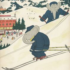 Everyone's favourite elephant swoops down the slopes Gorgeous Vintage Skiing Babar