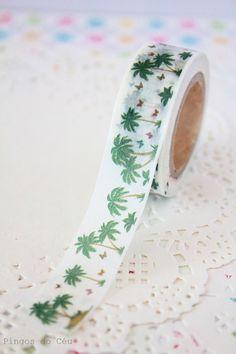 Cute Palm Tree Washi Tape  1 Roll  10 mt  Ready to by pingosdoceu, €2.40