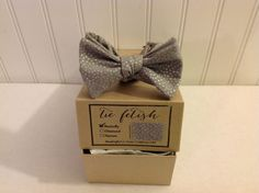 Boys grey and silver dots bow tie by TieFetish on Etsy,