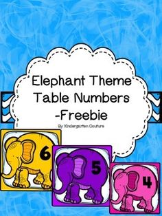 """Enjoy using these darling elephant theme table numbers.  Seven numbers on seven different color elephants.  These coordinate with other elephant theme products in my store.Elephant Theme Word Wall Letters and """"200"""" Fry WordsElephant Desk Plates -EditableElephant Theme Color Word PostersElephant Theme signs -EditableElephant Theme Editable Binder CoversElephant Theme Ten Frame Posters"""