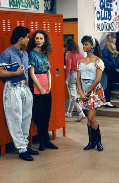 Mario Lopez and Lark Voorhies filming Saved By The Bell, 1990.    Photo Credit: Getty Images   - Cosmopolitan.com