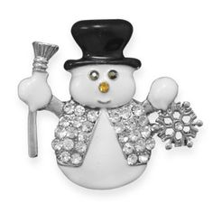 Crystal Snowman Christmas Fashion Lapel Pin