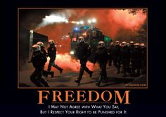 Freedom: I may not agree with what you say, but I respect your right to be punished for it. Demotivational Posters Funny, I Respect You, United We Stand, Freedom Of Speech, You Funny, Funny Shit, Badass Quotes, Dancing In The Rain, E Cards