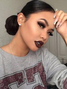 63 Ideas makeup looks dark lipstick faces Makeup On Fleek, Flawless Makeup, Cute Makeup, Gorgeous Makeup, Pretty Makeup, Skin Makeup, Perfect Makeup, Makeup Monolid, Sleek Makeup