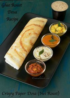 Ghee Roast Dosa Recipe to prepare a savoury crepe unique to South Indian cuisine, made from fermented rice & lentil batter & complemented by condiments like chutney, sambar etc.