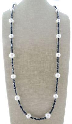Collar largo de perlas collar de cristal gris doble raw