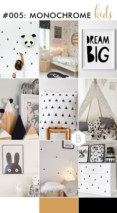 Neutral kids room decor ideas - Monochrome kids room