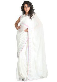 Embroidered White Saree - Mksp Online Shopping - Sareez | SA306WA64ICTINDFAS