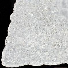 Antique Appenzell Embroidered Swiss Linen Wedding Bridal Handkerchief #5