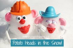 potato heads in the snow - happy hooligans. So creative! I love potato heads, so this is beyond awesome. If the snow doesn't melt before Monday we are doing this!