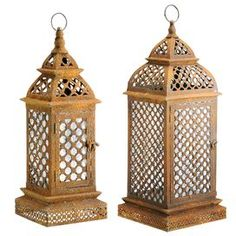 Add a sophisticated touch of style to your home with this chic accent, perfect as a finishing touch to your den, living room, or library d�cor.   Product: Small and large lantern Construction Material: Glass and metalColor: Rust  Dimensions: Small: 19 H x 7.3 W x 7.3 D Large: 28.5 H x 11.3 W x 11.3 D    Shipping: This item ships small parcelExpected Arrival Date: Between 04/23/2013 and 05/01/2013Return Policy: This item is final sale and cannot be returned