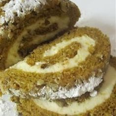 Pumpkin Roll Cake - Allrecipes.com made this with a couple changes and it came out delicious.