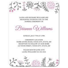 This naming ceremony invite has cute flower and leaf doodle borders top and bottom. Pink version, ideal for a little baby girl. Also available in other colors.