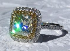 Canary Yellow Moissanite in Diamond Halo Engagement Ring, by JuliaBJewelry