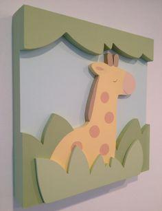 Giraffe Nursery Wall Decor and 3D Jungle Safari by EleosStudio