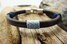 FREE SHIPPING. Men's bracelet.men gift,men leather bracelet,Natural black leather,men's bracelet with wrapped blue yarn,silver plated clasp....