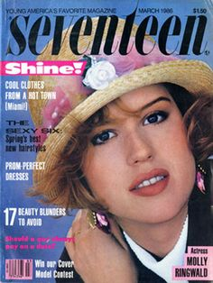 Pretty in Pink. Molly Ringwald - Seventeen magazine (March, 1986). Repin if you felt like you were Molly Ringwald. http://www.ivillage.com/flashback-justin-timberlakes-nsync-curls-bop-more-vintage-teen-magazine-covers/1-a-527453#