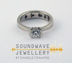 Diamond Soundwave Ring   Diamond Engagement Ring with a custom voice recorded message.   Did you know sound waves are similar to fingerprints? Each one is unique to you!   Create a truly one of a kind ring by recording your personal voice message and etching the image of your waveform onto a ring.   Soundwave Jewellery helps you record your own history on custom pieces of jewellery which will last for many years to come.  www.soundwavering.com
