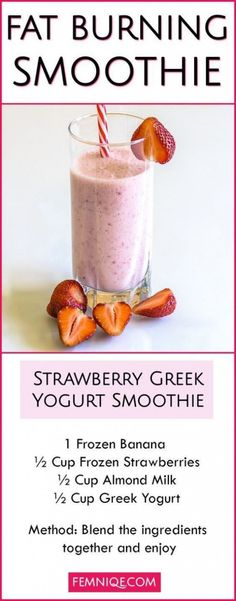Fat Burning Smoothie strawberry. #smoothies #fitness #healthysmoothies #cleaneating #healthydrinks #2weekdiet #2weekdiet