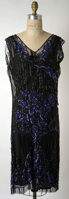 Evening Dress, Jean Patou, 1926-1928, cotton net with glass beads, sequins.  The Metropolitan Museum of Art, NYC, USA.