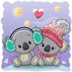 Cute Cartoon Koala girl on a meadow with flowers and butterflies Illustration Koala, Winter Illustration, Valentines Illustration, Cute Cartoon Pictures, Cartoon Pics, Cute Pictures, Cartoon Mignon, Cute Animals Images, Cute Christmas Cards