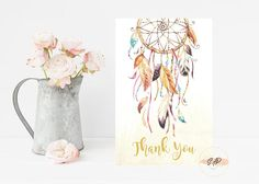 Dream Catcher Thank You Card Boho Thank You Cards Thank