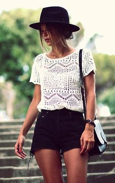 High Waisted Denim Shorts, Crochet Lace T-Shirt, Black Trilby Hat, Shoulder Bag.