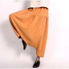 Cotton linen large size traveling Wide leg pants - Buykud
