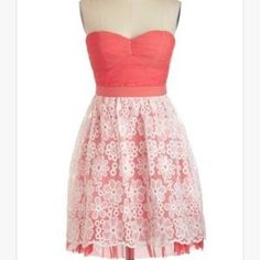 Minuet coral and lace dress size small Minuet coral and lace strapless dress . Size small . This is adorable. I purchased from another posher and love it but don't have anywhere to wear. Great dress ! Minuet Dresses Strapless