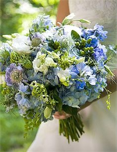 Meadows .. assorted spring flowers in blue tones