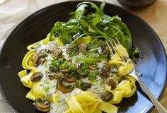 Mushroom and herb pasta with cashew cream sauce