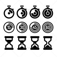 Timers Icons Set — JPG Image #minute #graphic • Available here → https://graphicriver.net/item/timers-icons-set/6132425?ref=pxcr
