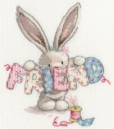 Friend One of a series of cute Bunny cross stitch kits from the Bebunni Collection by Bothy Threads. Contents: 14 count white aida fabric, threads, chart, needle and full instructions. Size: x See the full range of Bebunni cross stitch. Cross Stitch Books, Cross Stitch Fabric, Cross Stitch Love, Beaded Cross Stitch, Cross Stitch Animals, Counted Cross Stitch Kits, Cross Stitch Designs, Cross Stitching, Cross Stitch Embroidery