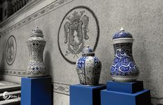 Jarrones de Gorky González Quiñones, cerámica mayólica, Guanajuato. Méx