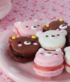 Uma fofura (e delícia!) estes macarons em forma de ursinhos pink!