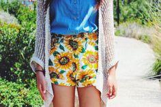 ROMWE Sunflower Print High-waist Denim Shorts