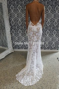US $155.00 / parte Vendita Inizia nel 3/29Solo App: US $120.90 Grace Love Lace Mermaid 2016 Wedding Dress Bohemian Boho White Halter Sexy Low Open Back Bridal Gowns Vestido De Noiva Renda